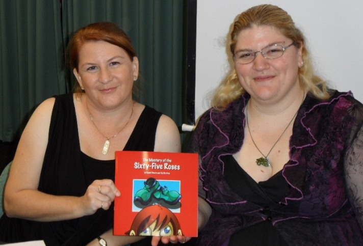 Stacey and I with OUR book!