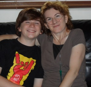 Sandi with her son, Jarryn in 2011 - two months before her double lung transplant.