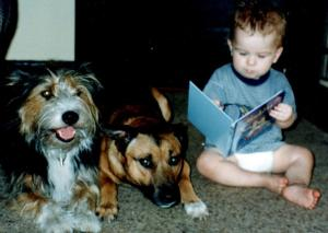 Jarryn reading to Monkey and Floyd, 1997