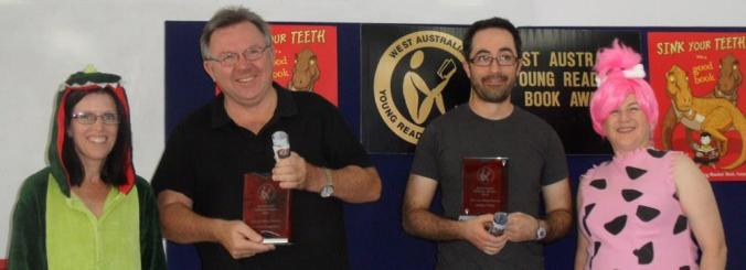 Another Book Nerd Moment when Mandy and I presented Norman and James with their trophies for The Last Viking Returns. WAYRBA AGM 2016